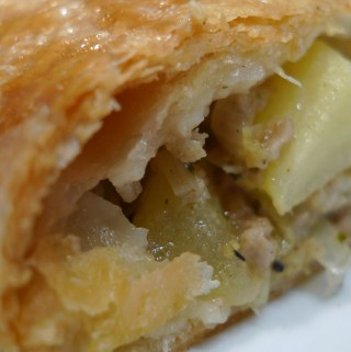 Pork, leek and apple sausage roll