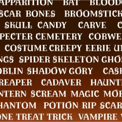 Various halloween themed words set in the Pumpkin Patch Font