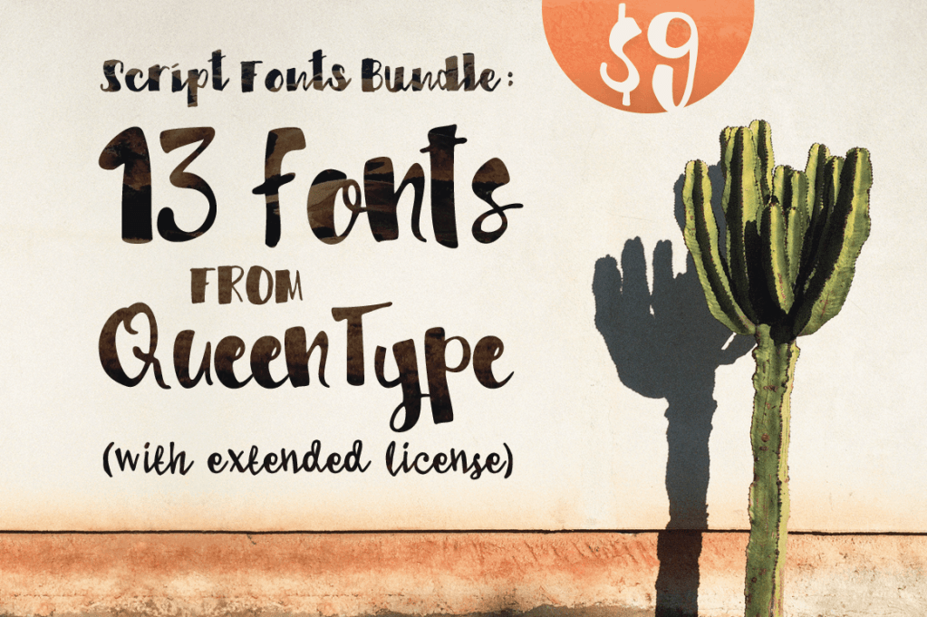 Script Fonts Bundle: 13 Fonts from QueenType