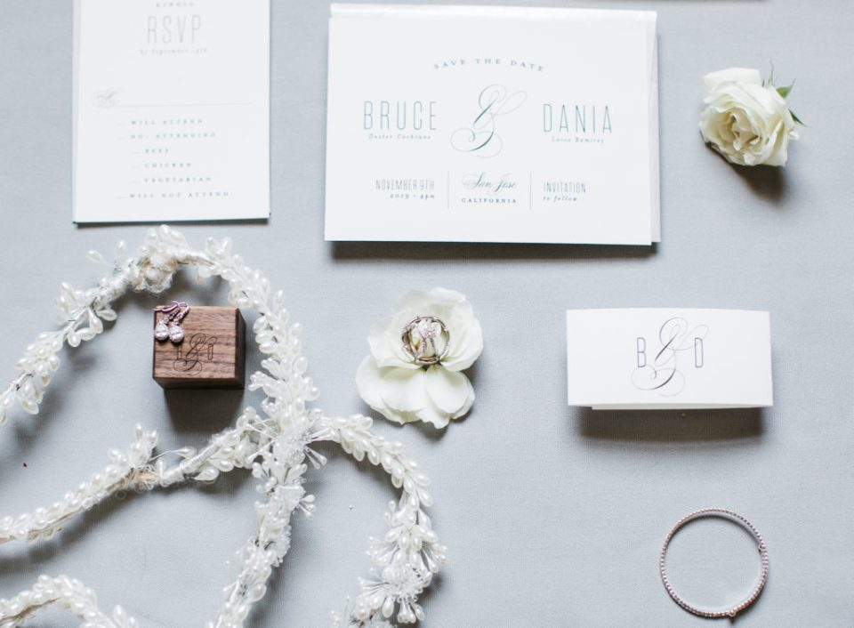 beautiful stationery and details at a wedding at The Westin San Jose