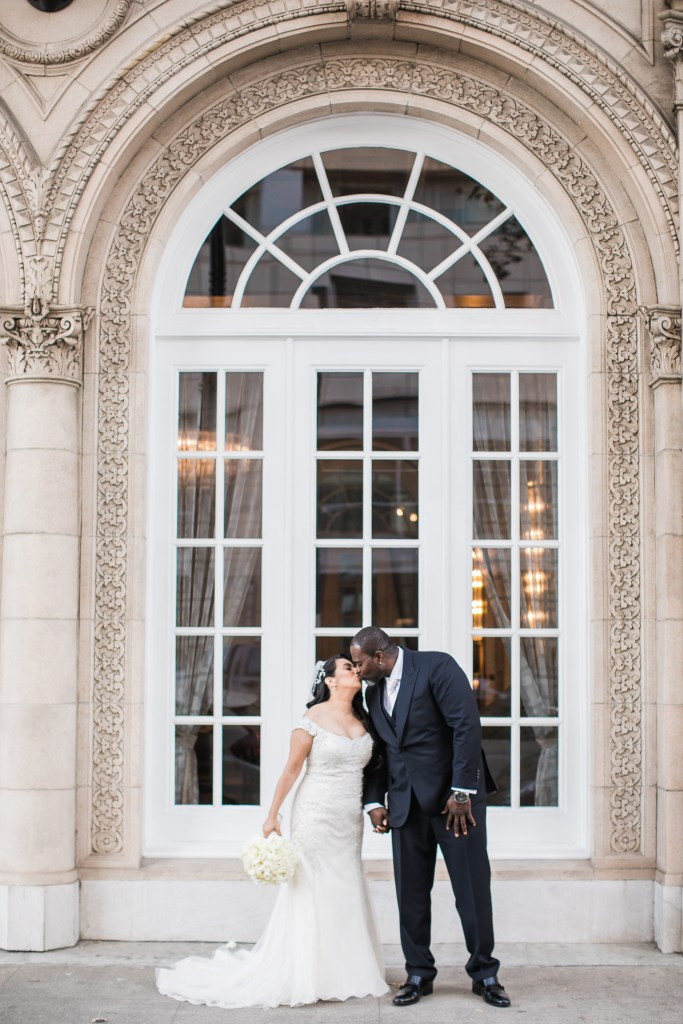a couple share a kiss before their wedding at The Westin San Jose