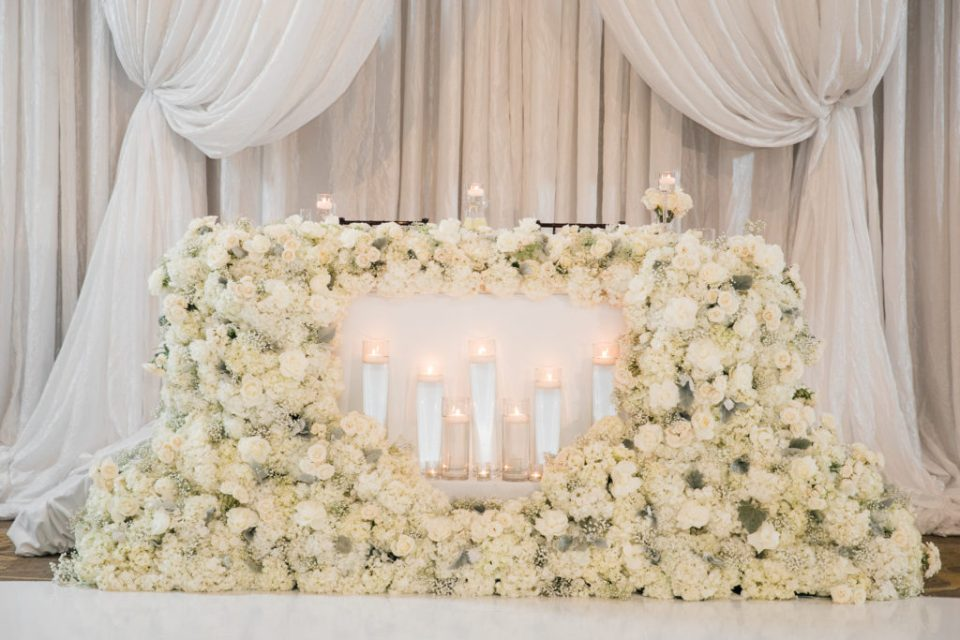 fountain of ivory roses at a reception for a wedding at The Westin San Jose