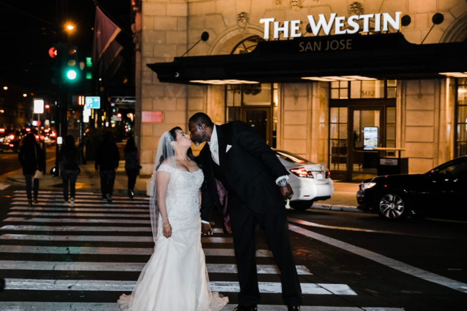 nighttime photo of a bride and groom after their wedding at The Westin San Jose