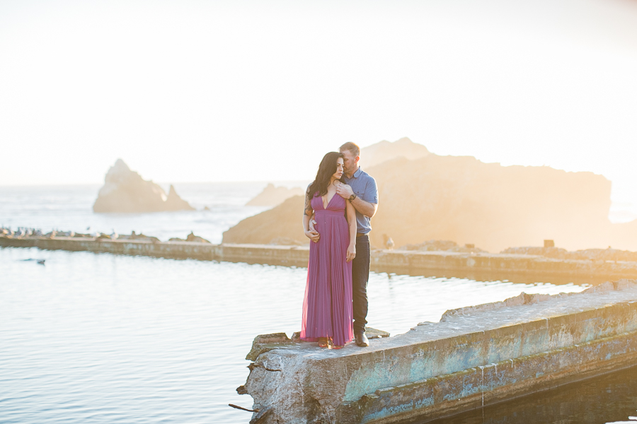 beautiful sunset engagement photos at Sutro Baths