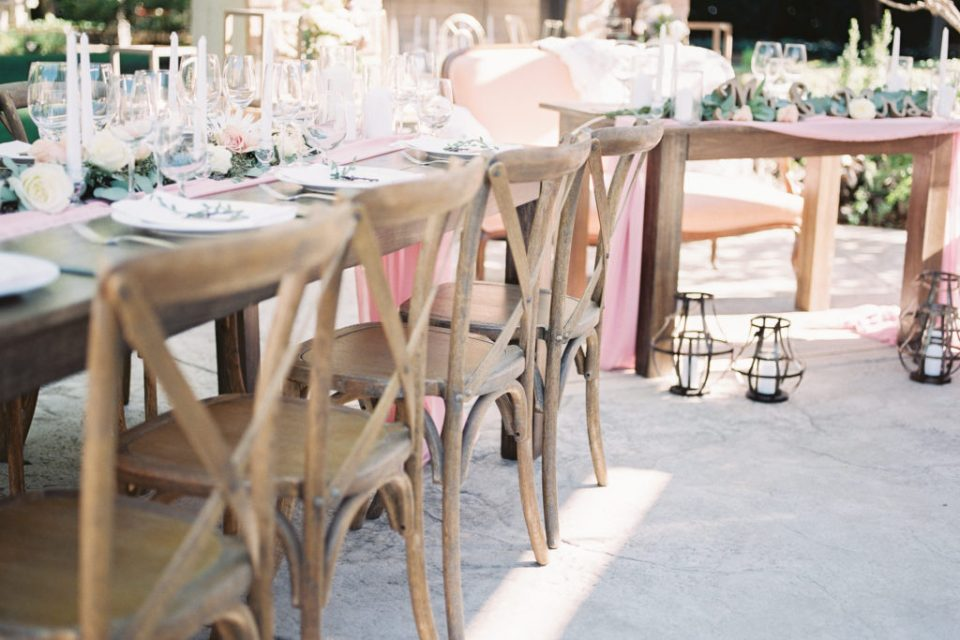 reception and dinner set up at an intimate estate wedding