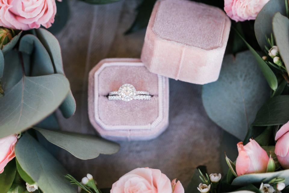 wedding rings during an intimate estate wedding