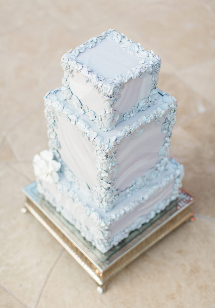 an icy blue wedding cake by Something Sweet Bakery