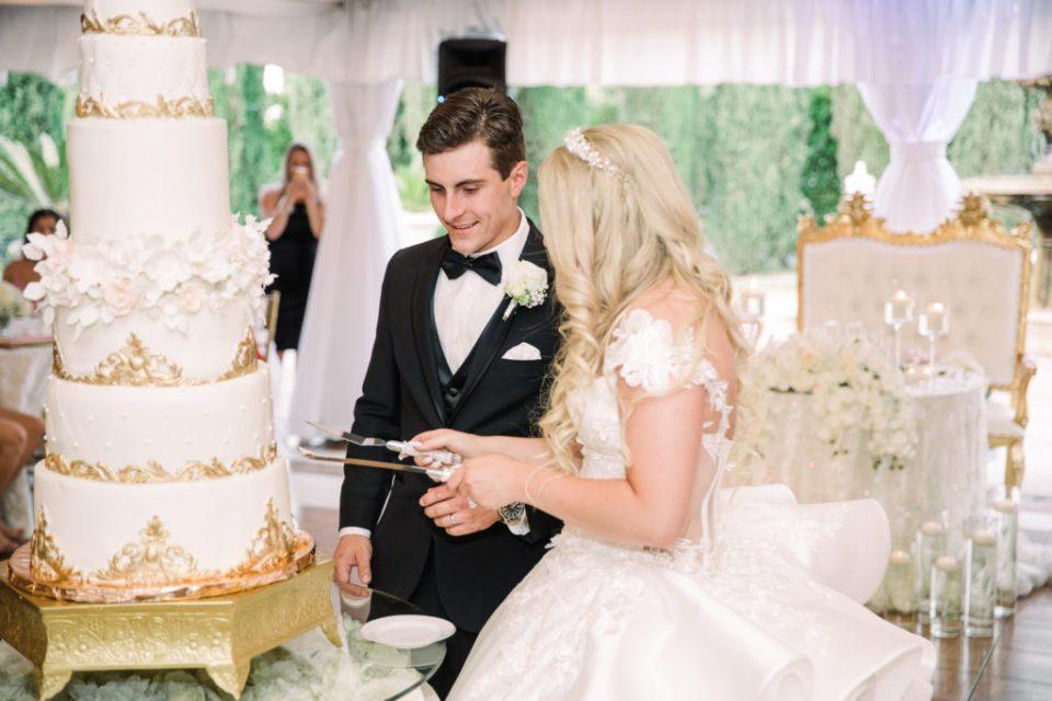 a bride and groom cut their cake at their fairytale Grand Island Mansion wedding