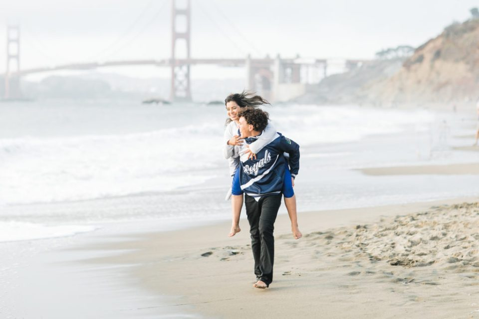 two teens celebrate their senior year and being a teen in 2020 on Baker Beach in San Francisco
