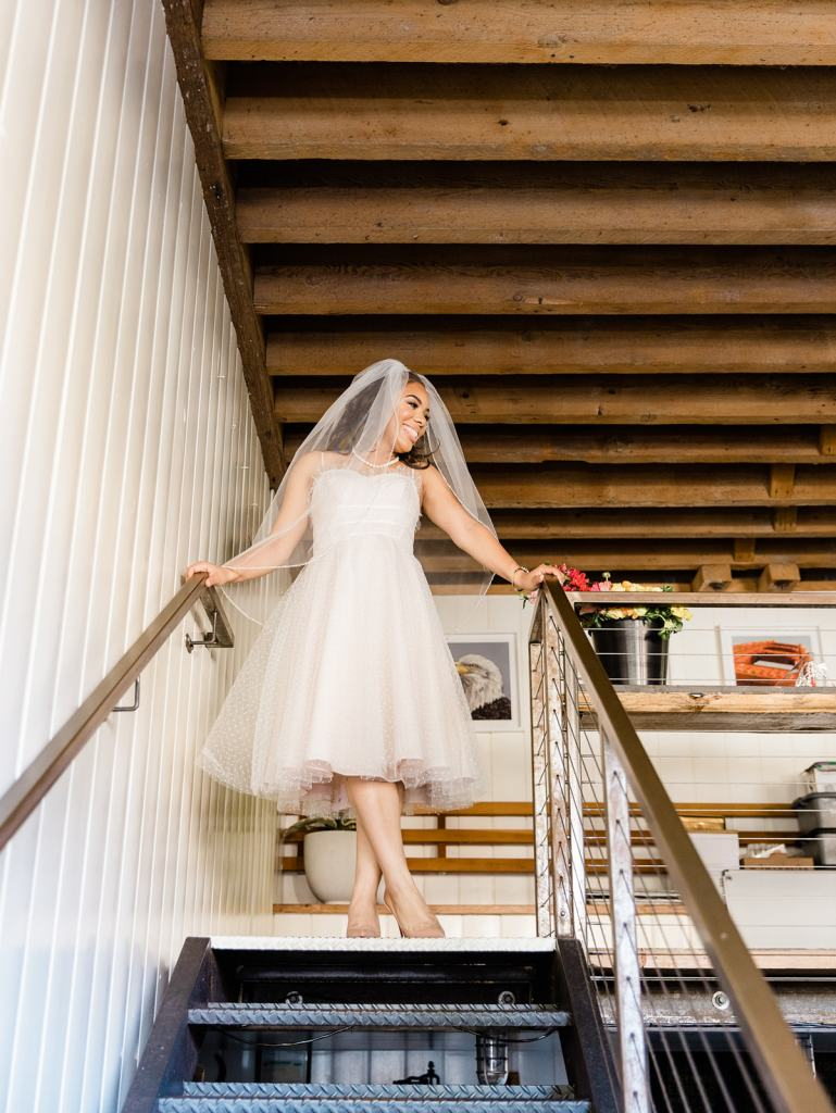 a bride prepares for her wedding at Stable Cafe in San Francisco