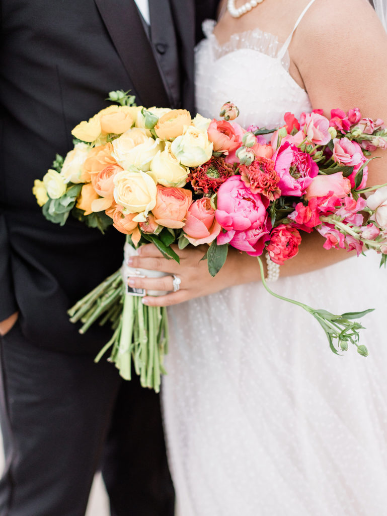 pink yellow and orange wedding bouquet for a wedding at Stable Cafe in San Francisco