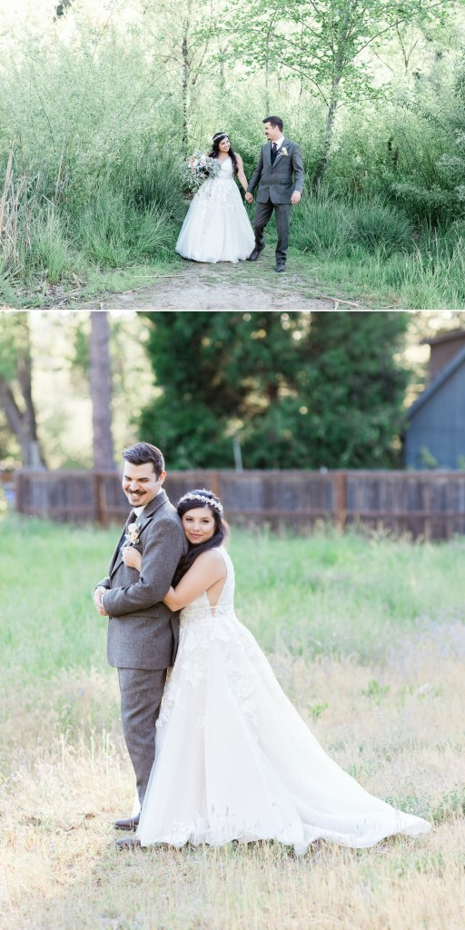 a bride and groom cuddle in the field before their Dunbar House wedding