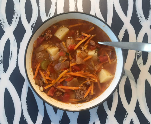 Cold Sunday Hamburger Soup (Low Carb!)