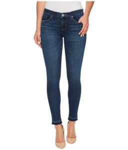 Crop Skinny Jeans with whiskering and honeycombs-front