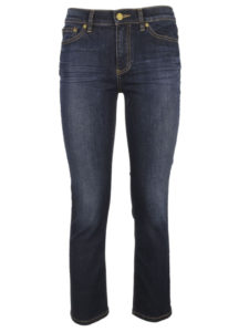 Cropped Straight Leg Jeans with resin set wrinkles