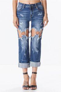 Destroyed Denim - Distressed Cropped Jeans