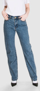 Straight Leg Jeans in Heavy Stone Wash Stonewashed Denim