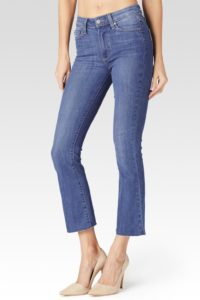 cropped flare blue jeans with nude heel