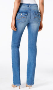 jeans with flap back pockets and fading