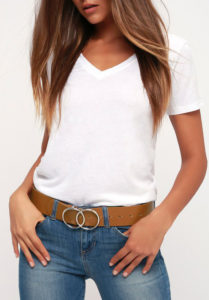 wide belt worn at the hip with jeans