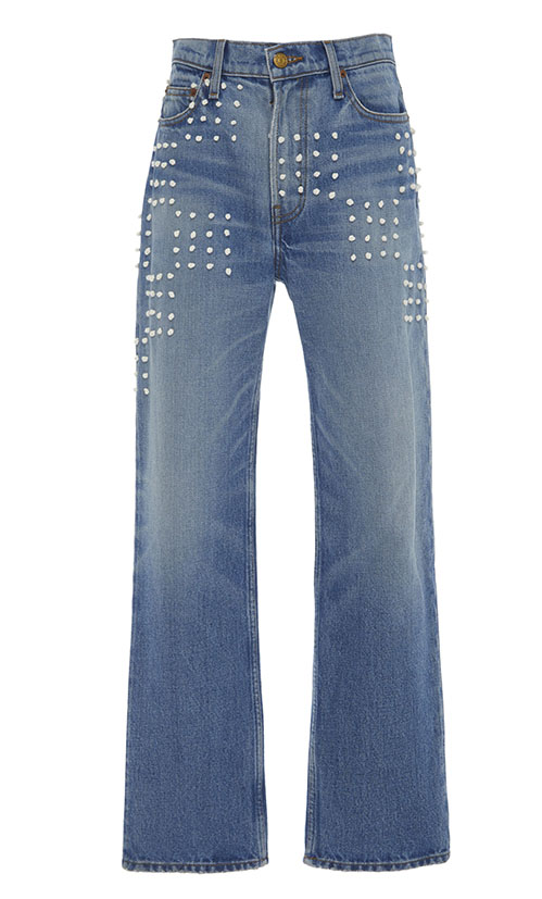 Casual jeans outfit idea. B SIDES Arts Embroidered Mid-Rise Straight-Leg Jeans