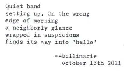 """The Farmer's Market"" by Billimarie Lubiano Robinson - ""Quiet band / setting up. On the wrong / edge of morning / a neighborly glance / wrapped in suspicions / finds its way into 'hello'"" (Typewriter Poetry)"
