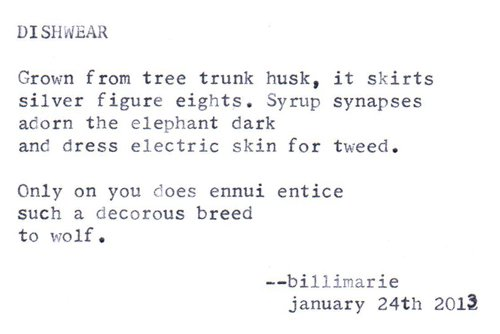 """Dishwear"" by billimarie typewriter poetry"