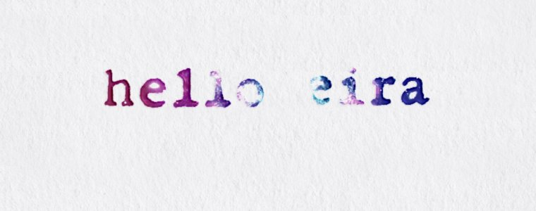 Typewriter Poetry Etsy shop, hello eira Facebook cover and logo. It's typewritten on gray paper. The typeface font is the color of the universe.
