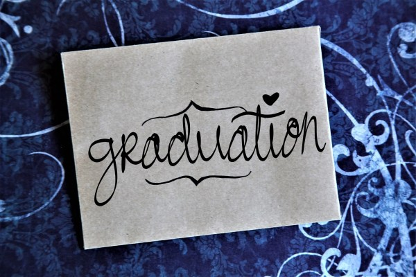 Quarantine Graduation Gifts: Typewriter Poetry card for seniors graduating during COVID-19 - blue background