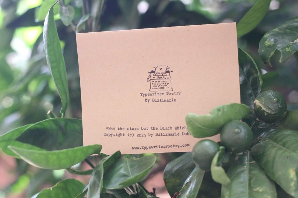 Typewriter Poetry greeting card by Billimarie - Fruit Tree - Back of Card