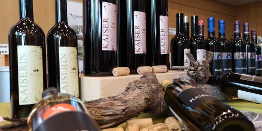 Display of different Swiss wines