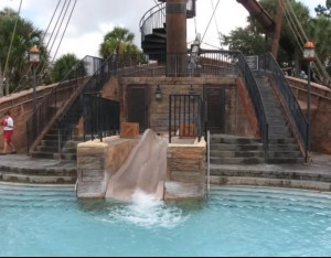 Best Disney World Pools for Kids, autism, Yacht Beach Club Pool Pirate Ship, water slide