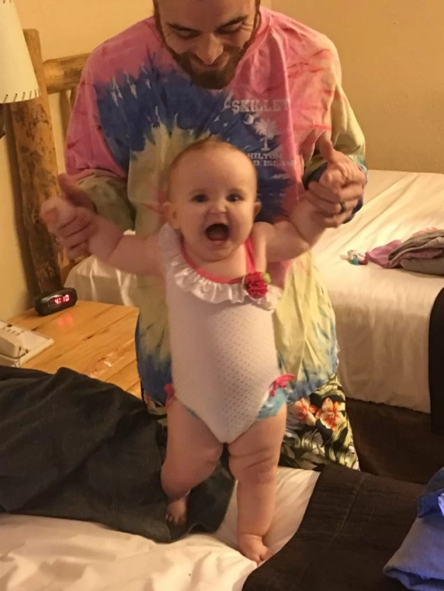 dad baby smiling great wolf lodge review sandusky swimsuit water park