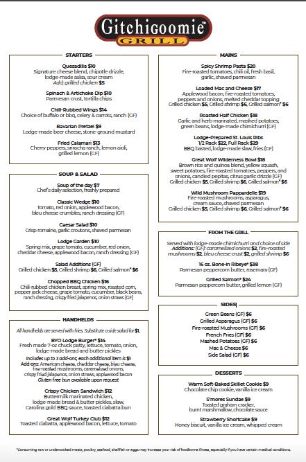 Gitchiegoomie Grill at Great Wolf Lodge Gluten-free menu