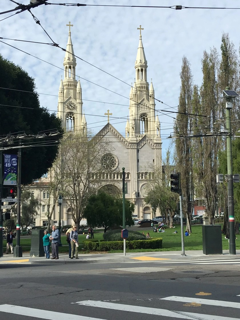saints peter and paul church, north beach, little italy, cathedral, walking tour of san francisco with a baby