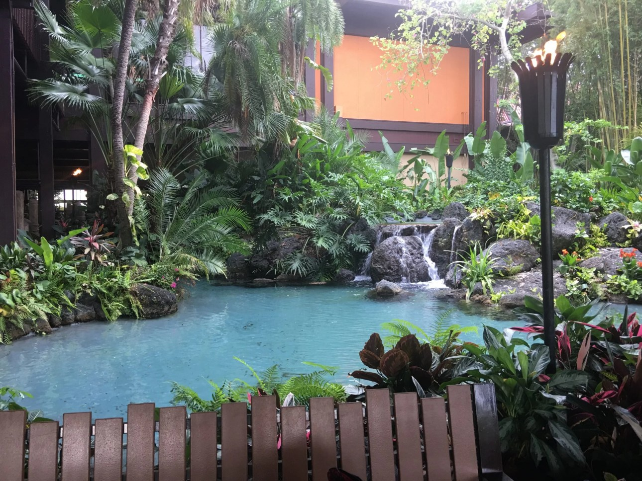 Disney Polynesian Village Resort exterior pool waterfall Walt Disney world