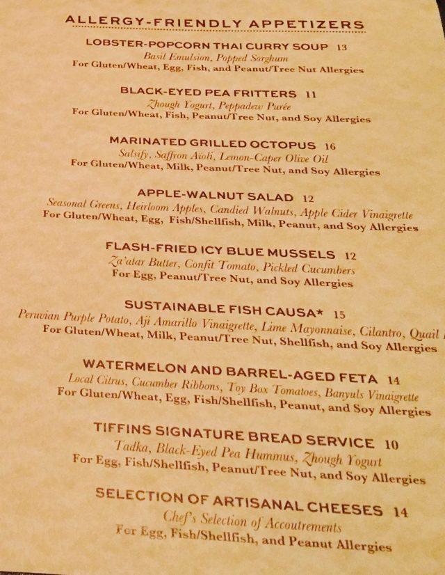 A Gluten-Free Review of Tiffins at Disney's Animal Kingdom, gluten-free menu, leather