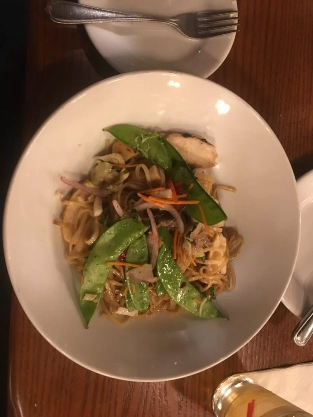 gluten-free at Kona cafe Chicken Asian Stir Fry with Rice Noodles in a Soy-Yuzu Sauce