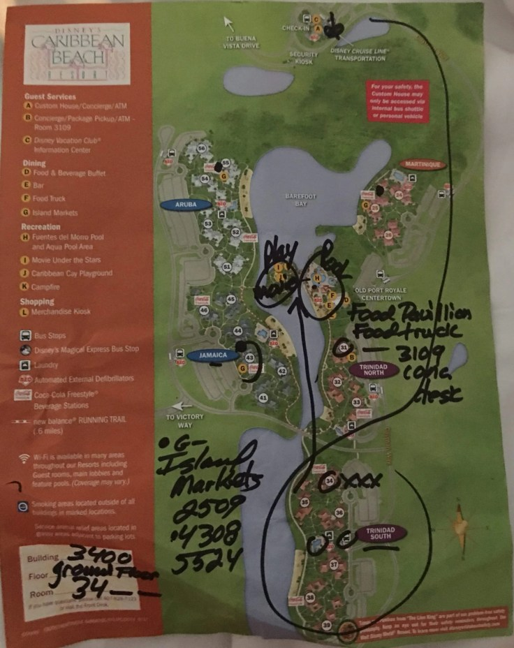 Walt Disney World Caribbean Beach Resort Map while Under Construction. Learn more at www.typicallytwitterpated.com