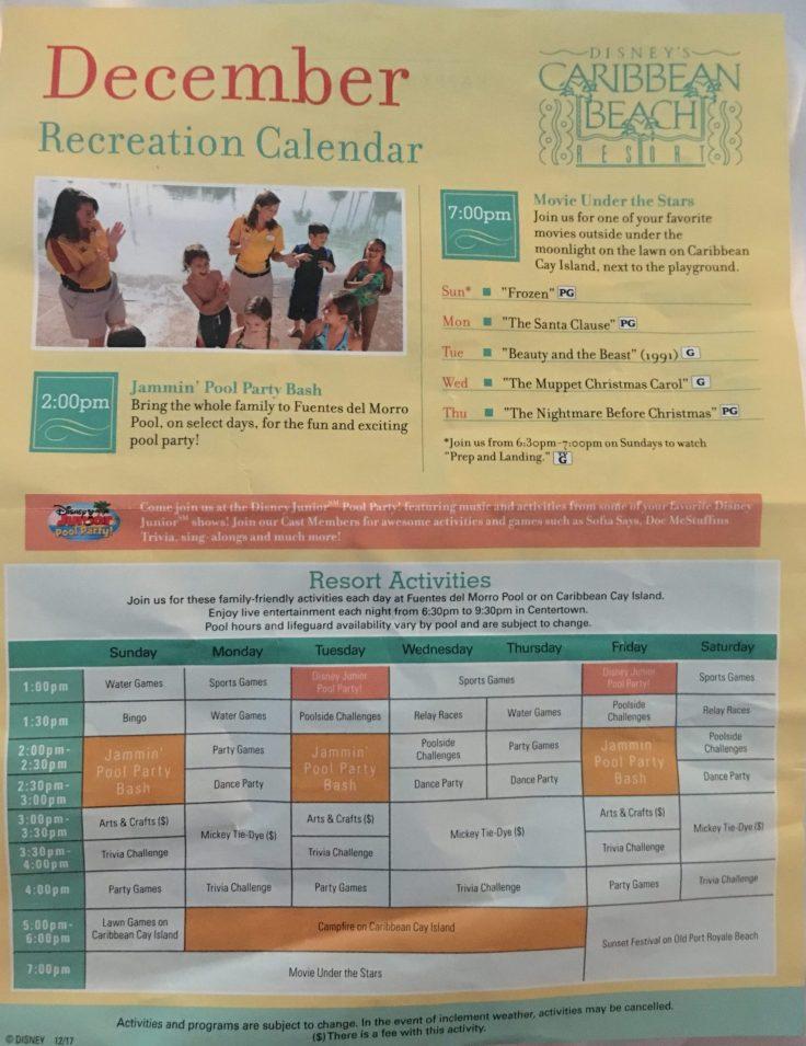 Caribbean Beach Resort Activities schedule December 2017