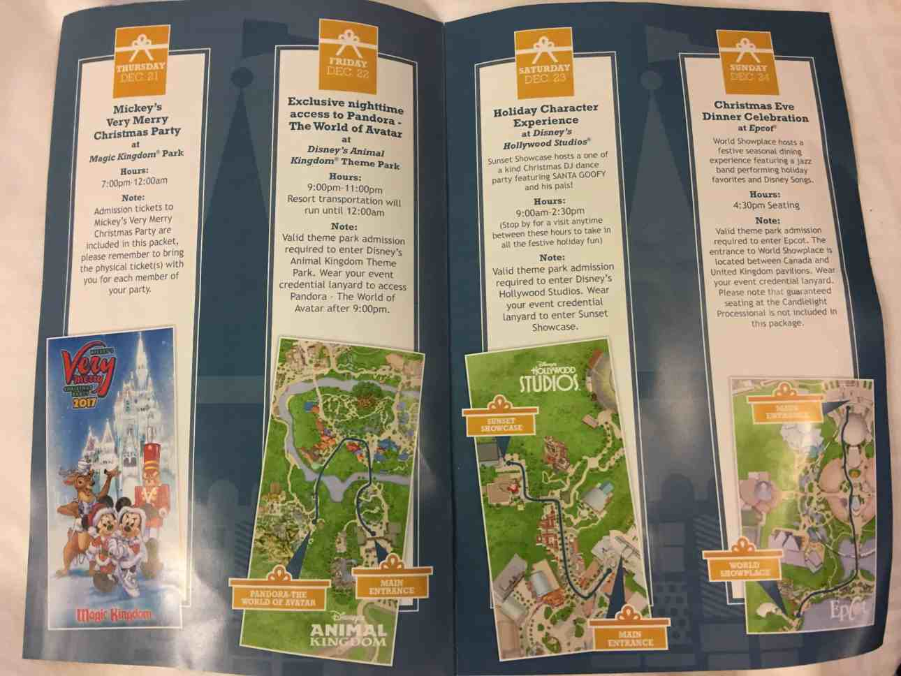 Ultimate Disney Christmas package itinerary 2017
