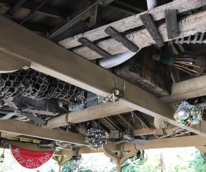 Christmas ornaments in the queue on Magic Kingdom's Jingle Cruise