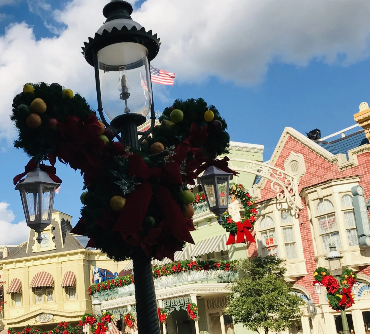 Mickey Mouse Christmas lamp posts in Walt Disney World