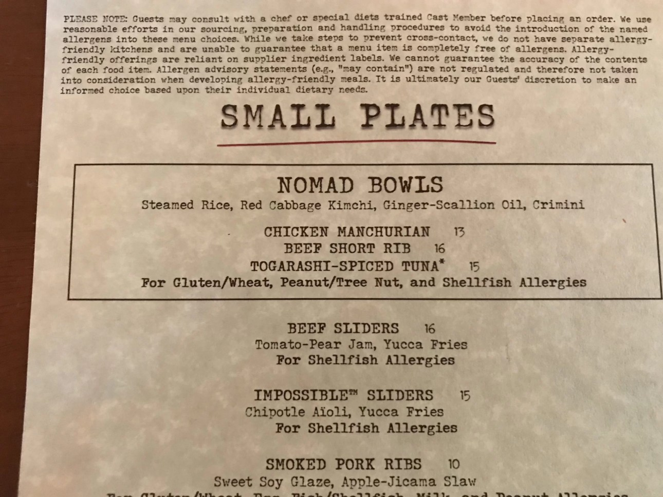 Top Allergy menu at Nomad's Lounge at Disney's Animal Kingdom