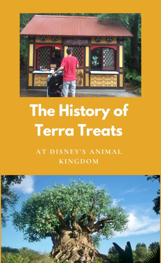 """Marigold Yellow background with """"The History of Terra Treats at Disney's Animal Kingdom"""" written in white with a kiosk with a brown tin roof image above and a Tree of Life image below"""