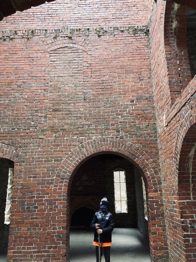 The brick walls of Squire's Castle showing where upper floors once were.