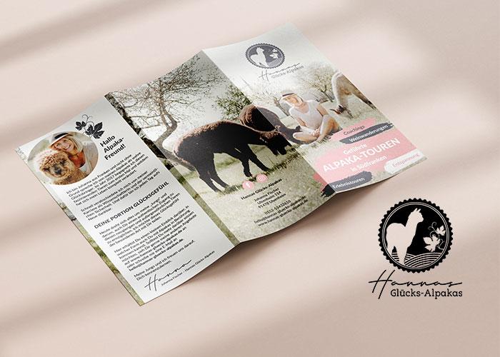 Neues Logo, Imageflyer & Gutscheine für Hannas Glücks-Alpakas