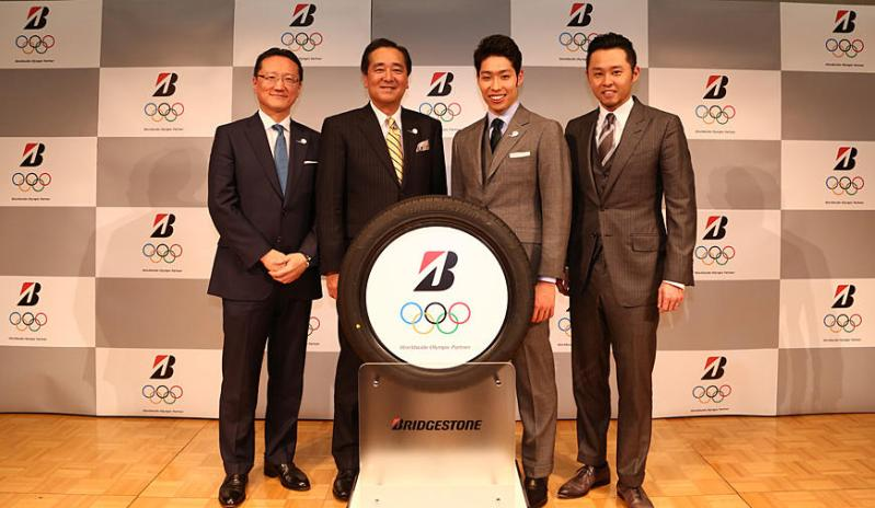 Kosuke Hagino (3rd from left) will act as a Bridgestone Athlete Ambassador until the end of March 2022