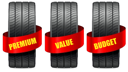 Choose between premium, value and budget tyres