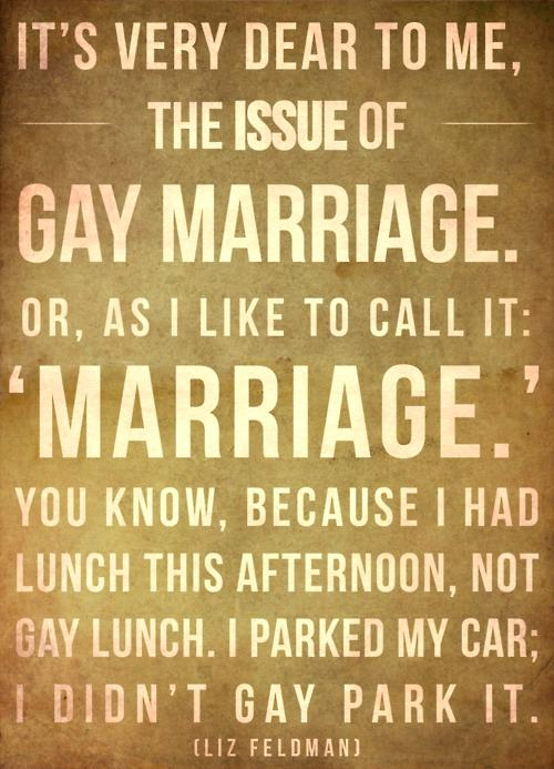 Gay Marriage, or as I like to call it Marriage
